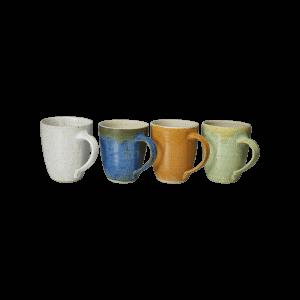 Keramik Kaffeetasse Weiß Blau Braun Gruen Bunt Handgemacht