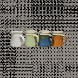 Keramik Kaffeetasse Konisch Weiß Gruen Blau Braun