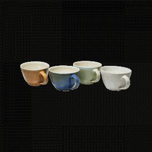 Keramiktasse Jumbo Braun Blau Gruen Weiß 0,5 l Fassungsvermögen