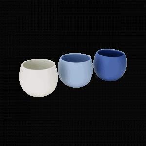 Espressobecher Ronda schlicht weiß hellblau dunkelblau handgemacht Keramik