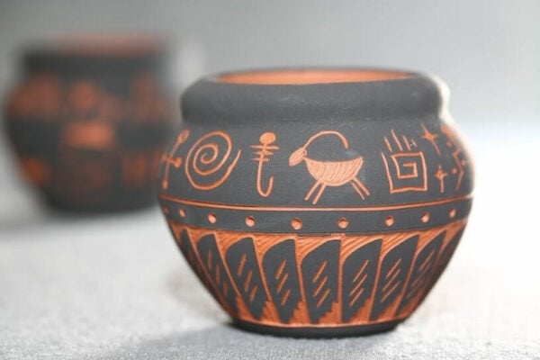 Steingut Keramik Töpferkunst Muster Edel Stilvoll Grau Orange