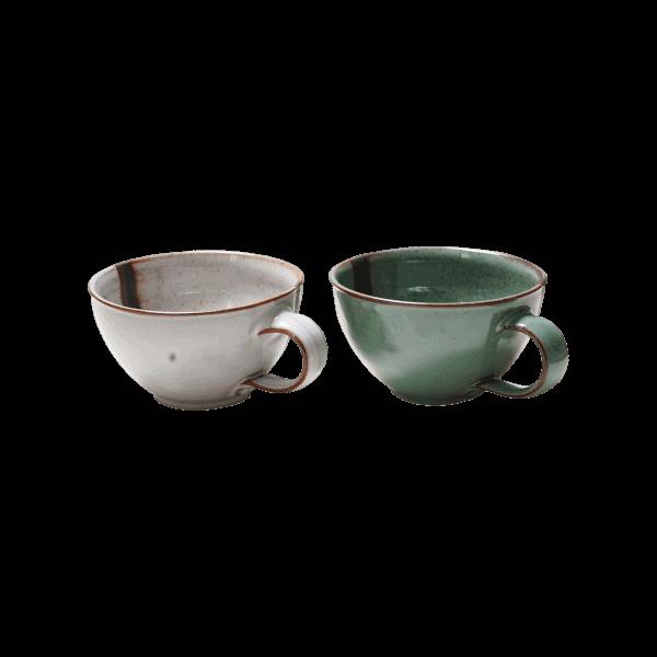 Tasse Klein Grün Silber Henkeltasse für Kaffee oder Tee aus stilvoller Keramik